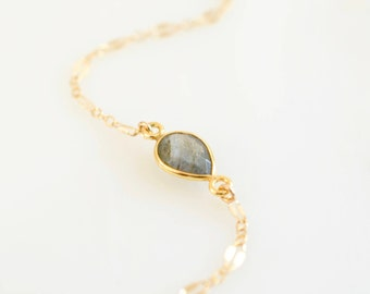 Labradorite Connector Bracelet with Fancy Lace Chain, Bezeled Labradorite Connector Bracelet w/ 14K Gold Fill or Sterling Silver Fancy Chain