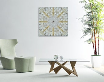 White Quartz Mandala ~ Canvas Print ~ Crystal Cluster ~ Nature Photography ~ Wall Art for Healing and Meditation ~ Sacred Mandala Creations