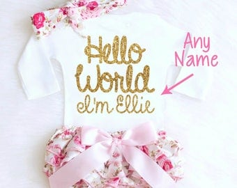 Coming home outfit etsy baby girl coming home outfit newborn girl coming home outfit baby clothes hello world personalized newborn negle Images