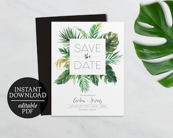 Save The Date Tropical | Editable Template | Printable | Wedding | Palm Leaf  | Banana  Editable Leaf Template