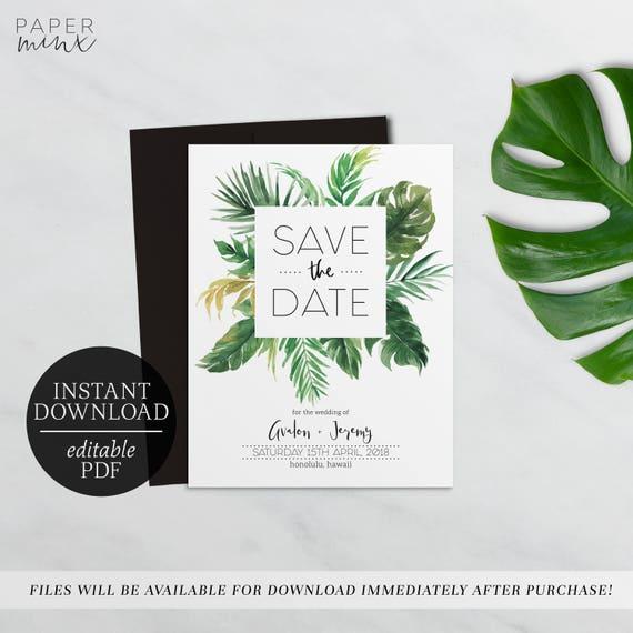save the date tropical editable template printable