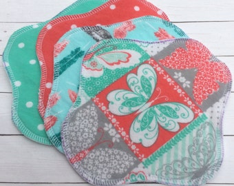 "Ready to Ship 4-Pack, Reusable Cloth Pantyliner, Panty Liner, 100% Flannel, 7"" Size, Corals Mints Feathers Butterflies, Reversible"