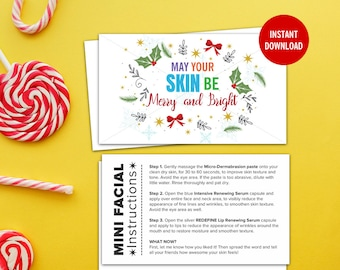 Rodan and Fields, Mini Facial Card, Merry and Bright, Give It A Glow, Instant Download, Digital, Printable