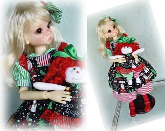 Christmas/Stripes *Pinafore & Dress* Kaye Wiggs MSD BJD dolls. Inc. small cloth doll and hair bow. BJD doll/model *not* included.