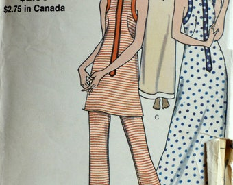 1970s Vogue Vintage Sewing Pattern 8050, Size 14; Misses' Cover Up and Pants