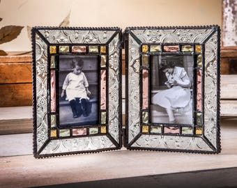 2x3 double picture frame stained glass picture frame photo frame vintage frame school picture keepsake frame - Double Glass Picture Frame