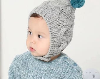 ReadyToShip!Knitted Baby Hat with pom pom,Baby Pom Hat,Baby Beanie,Toddler Pom Hat,Baby Boy Beanie,Baby girl Hat,gray baby Hat,pink baby hat
