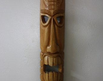 "Vintage 39""  TIKI MASK Wall Art Hawaiian Style Decor ""Tiki Hut"" Polynesian Carved Wooden Tribal Totem Masks"