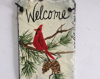 Cardinal welcome sign, Cardinal Winter Slate Door hanging, Fall decor, Winter welcome sign, wall hanging, welcome sign, Cardinal in snow