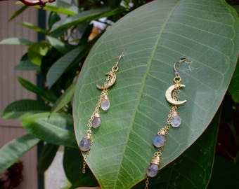 Moon Earrings with Moonstone and Labradorite Gemstone Briolettes; 14k Gold Filled Chain; Vermeil; Sterling Silver Filled 18k Gold Plated