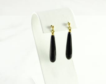 Onyx Dangle Pierced Earrings in 14K