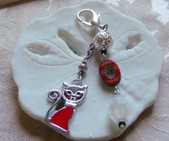 French cat zipper pull - silver katzen charm - red flower - filigree ball silver - crystal beads - enamel  cat - purse clip oval - gift