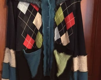 Funky Upcycled Argyle Jacket size L (roughly 10/12)