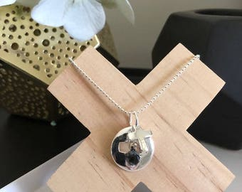 Sterling Silver Plated Ball Chain Necklace with Cross Pendant and Gemstone Drop Charm