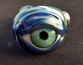 Detailed Eye Pipe - Fumed/UV Glow Cobalt