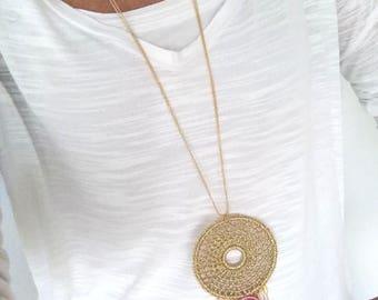 Collar largo ajustable y antialérgico de ágata de corte natural y crochet