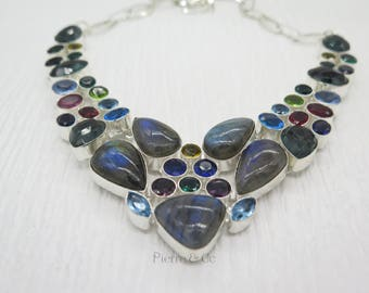 Blue Fire Labradorite Emerald Quartz Blue Topaz Garnet Sterling Silver Necklace