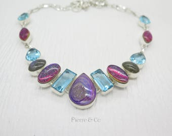 Titanium Drusy Dichroic Glass Blue Topaz Labradorite Sterling Silver Necklace