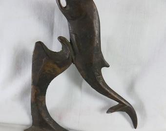 Original Vintage Bronze Whale Fish Leaping