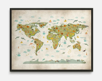 World map nursery etsy animal world map animal map world map nursery kids world map world gumiabroncs Image collections