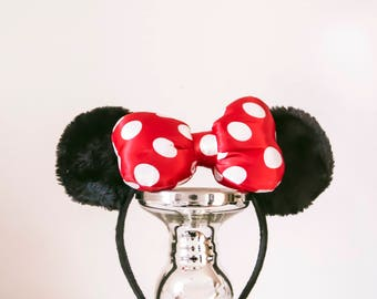 Minnie Mouse Ears  - Mickey headband, red bow, soft ears