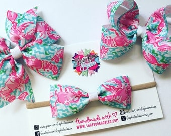 Lobstah Roll, Lilly Pulitzer Inspired Hair Bow, Lilly Pulitzer Bow, Headband, Lilly Bow, Lilly Pulitzer Inspired Ribbon, Buy 5 Get 1 Free