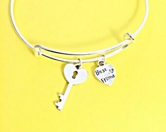 Adjustable charm bracelet, best friend bangle, bff bangle bracelet, key charm, best friend charm, friendship jewelry, gift for best friend