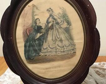 Antique Wooden Framed French La Mode Illustree Reville Paris Fashion Illustration Coloured Tailored Clothing Print circa 1900  English Shop
