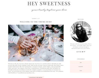 Responsive Wordpress Theme - Genesis Child Theme - Wordpress Blog Theme - Feminine Wordpress Theme - Premade Wordpress Theme - Hey Sweetness