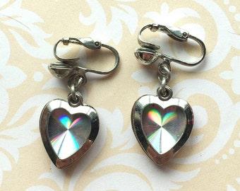 Vintage Heart Earrings in Silver
