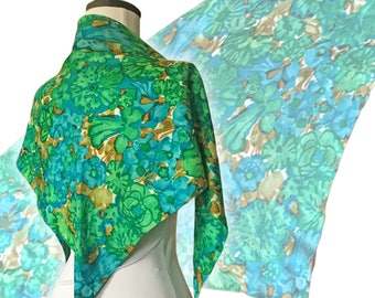 Vintage 1960s Dreamy Floral Silk Triangle Scarf