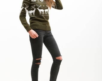 NEW COLLECTION! Women Knitted Christmas Sweater with Deers Crewneck Ugly Jumper Pullover Noel Olive Green