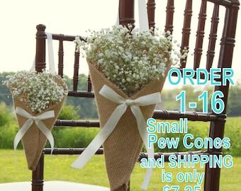 Pew Cones, Wedding Pew Cones, Church Aisle Decoration, Church Pew Decorations, Rustic Wedding Decor, Church Flower Holders