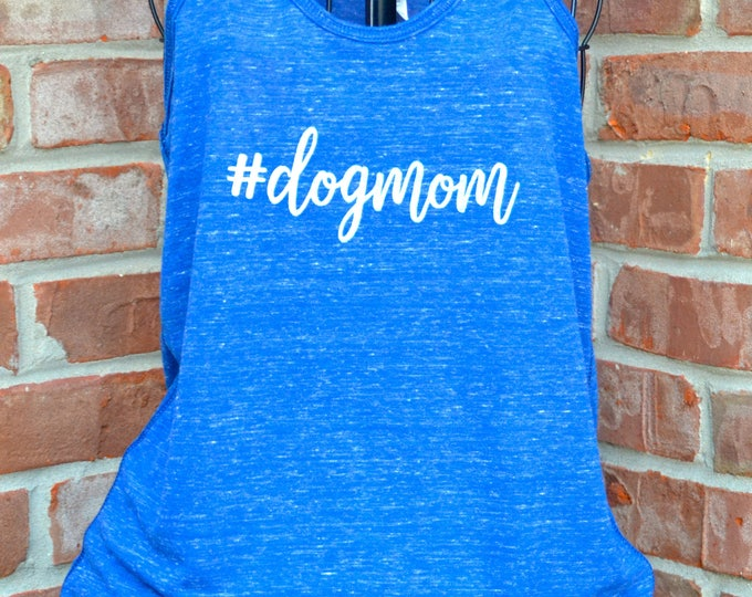 Featured listing image: Dog mom ladies' flowy racerback tank top in red blizzard or royal blizzard