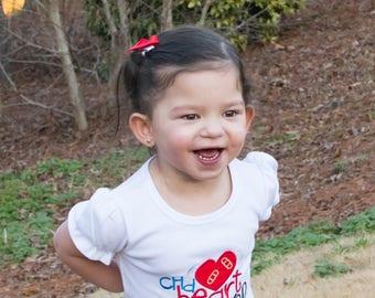 CHD  heart Warrior / Congenital Heart Defect  personalized Girl or Boy short sleeve bodysuit or Shirt