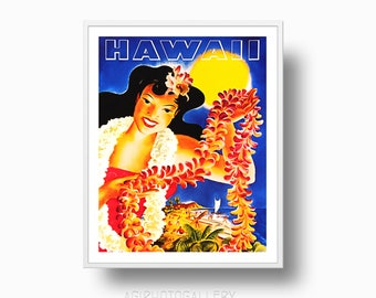 Hawaii Vintage Ad Print, Hawaii Travel Ad, Hawaii poster, Hawaii Travel Printable Download, Hawaii Lei Print, Travel Poster,