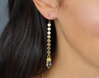 Gold Disc & Quartz Earrings || Gold Disc Earrings || Silver Disc Earrings