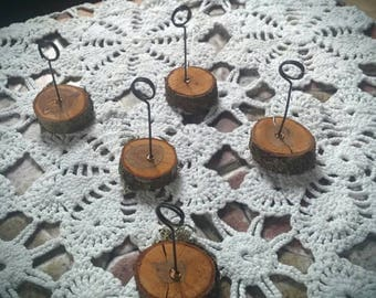 10 pcs place card holders rustic wedding table number holders woodland wedding centerpiece wood place card