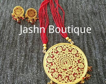 Thewa work Jaipur Mughal design necklace, large round design with Red beads and intricate gold work matching earring, Hyderabadi