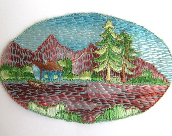 Scenery Landscape Applique, 1930s Antique Embroidered applique, application. Sewing supply. #6A8G43KB