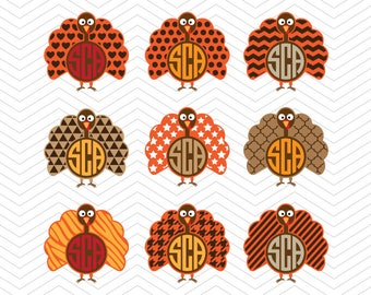 Turkey Monogram Thanksgiving SVG DXF PNG eps Autumn Houndstooth Strips Chevron Cut File for Cricut Design, Silhouette studio, Sure A Lot