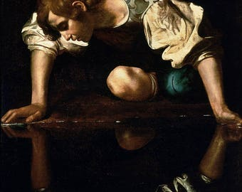 Narcissus by Caravaggio Poster A3 or A4 Matt, Glossy or Art Canvas Paper