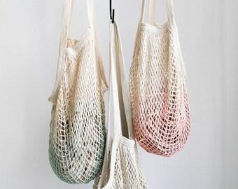 Mesh Tote Bag - Varying colors / Dip Dyed Market Tote / Mesh Bag / Reusable Grocery Bag / Bohemian / Farmers Market Bag - Portland OR