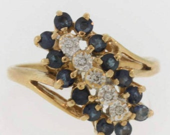 Vintage  Stacked Sapphire And Diamond Ring- 14k Yellow Gold