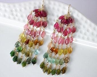 Watermelon Tourmaline Earrings, Tourmaline Tassel Earrings, Long Tourmaline Earring Dangle Tourmaline Earring Rainbow Tourmaline Gold Filled