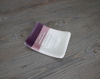 Purple, Mauve/Liliac, and White Striped Fused Glass Soap Dish; Fused Glass; Housewarming Gift; Hostess Gift; Bathroom Decor