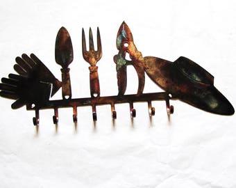 Metal Garden Tools Garden Hooks Belt Scarf Jewelry Key Hooks Steel Patina  Wall Art Design Decor