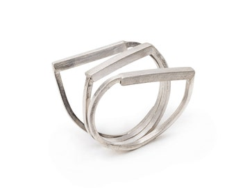 Contemporary Silver Ring,Big Triplet Geometric Ring,Wire Silver Ring,Modern Geometric Ring,Triplet Silver Ring,Geometric Jewelry,Vikamayzel