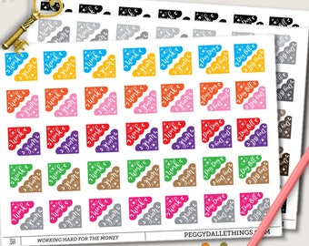 Work Week Corner Planner Stickers | Day Off Corner Stickers | Pay Day Corner Stickers