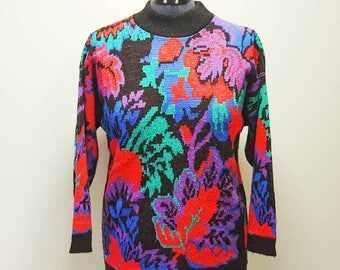 Colorful 80s Sweater By Rose, Floral Sweater, Ugly Christmas Sweater For Women, Pullover Sweater, Woman's Size Medium, Gift For Her